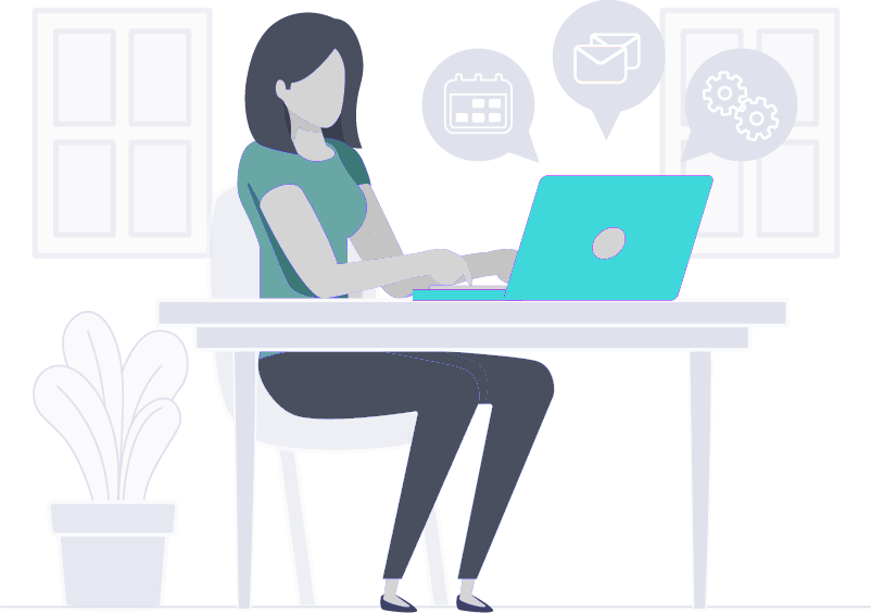 illustration of women sitting at computer desk